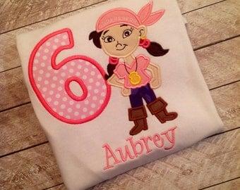 Girl Pirate Birthday Applique Shirt