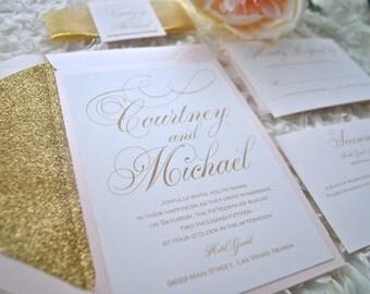 Blush and Gold Glitter Wedding Invitation, Gold Foil, Glitter envelope-Pretty Script (NOT SAMPLE LISTING) Color/wording Customizable