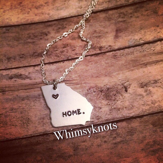 Georgia shaped stamped necklace . Personalized, Hand-Stamped Jewelry