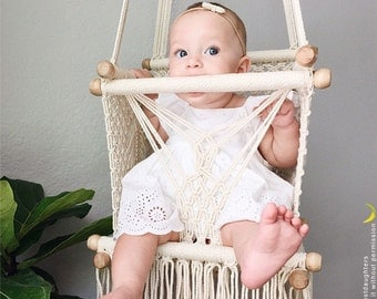 "Baby Swing Chair 14"" in Macrame. 1 Year Warranty. High Quality. Sustainable native wood bars. FairTrade. → 14 DAYS DELIVERY!"