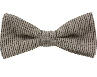 Grey Clip on Bowtie Necktie Rust striping Vintage wool fabric Handmade LARGE 5 inches by 3 inches Bow tie, Big Guy Tie
