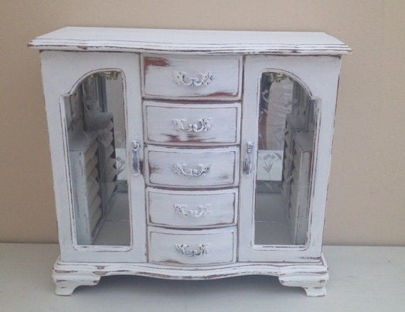 large jewelry armoire white jewelry box distressed rustic. Black Bedroom Furniture Sets. Home Design Ideas