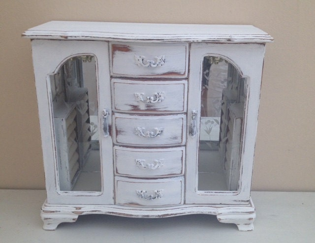 Large Jewelry Armoire White Jewelry Box Distressed Rustic