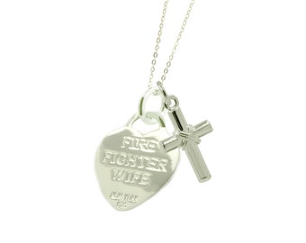 Sterling Silver Firefighter Wife Necklace CX - (Free Shipping)