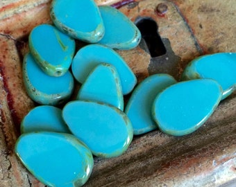 Czech Glass Beads 18mm Table Cut Drop Turquoise picasso - Opaque turquoise Picasso Beads 2 pcs