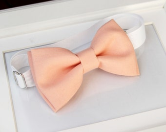 Peach bow-tie for baby toddler teens adult - Adjustable neck-strap - Ring bearer bow tie - Wedding bow tie