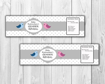 Gender Reveal Water Bottle Labels - Digital File