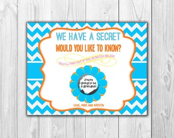 Bright Colors Pregnancy Announcement | Scratch Off Card (4 Cards and 4 Envelopes)