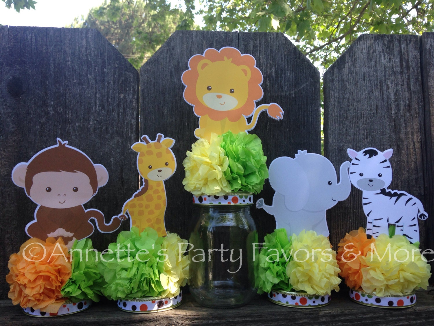 Jungle safari jar centerpiece decoration by for Baby shower safari decoration