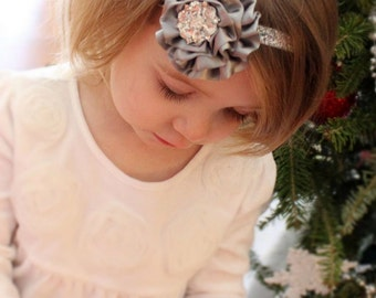Silver Headband, Grey Headband, Baby Girl Headband, Silver Sparkle Christmas Headband, Infant Headband, Toddler Headband