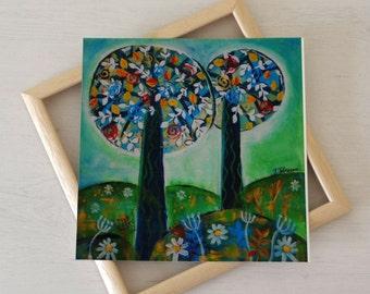 Acrylic Art Print, Tree Art Print, Green Artwork, Naive Art, Illustrative Trees, Floral Art, Landscape Print, UK Seller