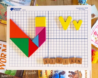 Custom Tangram Block Wall Picture - Colorful Shape and Letter Art Letter V - Choose Any Initial