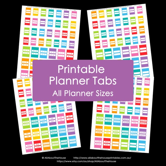 Planner Tabs Printable Daily Planner Rainbow Add On Agenda