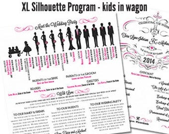 Wedding Program Fan Silhouette Wedding Program Fan Wedding Ceremony Program Fan Silhouette Wedding Program 2 Sheets