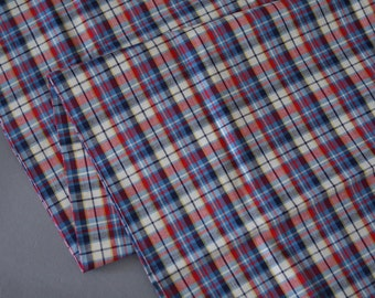1950s 1960s Cotton 2.25 Yards 2 1/4 Vintage Fabric Yardage Plaid in Blue red Yellow and White