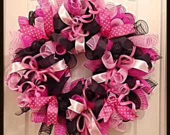 Pink Poke A Dot Deco Mesh Wreath/Pink and Black Wreath/Everyday Pink and Black Wreath