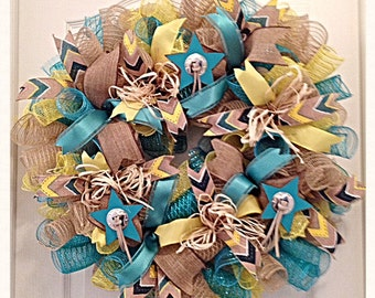Southwest Teal and Yellow Burlap Wreath/Teal and Yellow Burlap Wreath/Cowboy Cowgirl Wreath/Burlap Wreath/Burlap Star Wreath