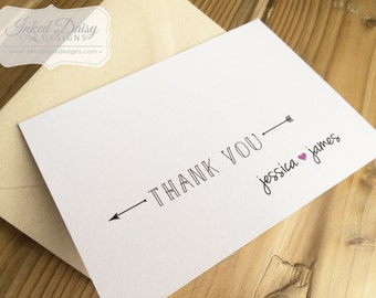 Heart and Arrow Thank You Card, Wedding Thank You, Shower Thank You, Printed Cards, FREE SHIPPING (us only) {multiple sets}