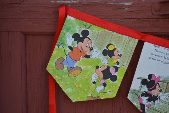 Vintage Mickey Mouse Little Golden Book Bunting Banner