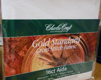 16 Count DMC CHARLES CRAFT Gold Standard Cross Stitch Aida Fabric White 12x18