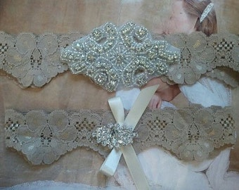 Wedding Garter, Bridal Garter, Garter - Crystal Rhinestone Garter Set on a Deep Sand color lace - Style G296