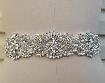 Wedding Belt, Bridal Belt, Sash Belt, Crystal Rhinestone & Off White Pearls  - Style B200099EXL