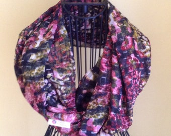 Black and pink with silver threads infinity scarf.