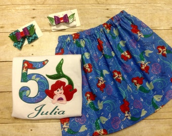 Little Mermaid Birthday Outfit with Matching Hair clip/ Ariel Birthday Outfit/ Disney Birthday Outfit/ Ariel Skirt set/ Ariel Shirt