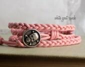 CLEARANCE Pink Skull Braided Leather Bohemian Bracelet Handmade Jewelry Stacking Wrap Bracelet Girly Pink Rocker Glam