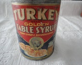 Turkey Brand Golden Table Syrup Paper Label Advertising Tin
