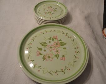 Lime Green Floral Dinner And Salad Plates Mikasa Needle Craft Pattern Floyd Jones Vintage Servingware