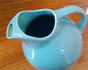 Vintage Tilt Ball Pitcher Blue Ceramic