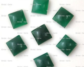 15 Pieces Wholesale Lot Wonderful Green Onyx Square Shape Cabochon Gemstone For Jewelery