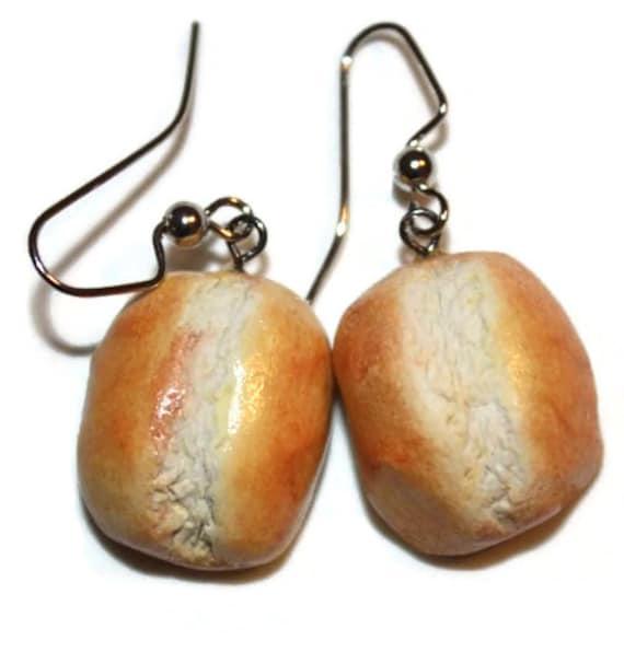 Earrings- Dinner Rolls Fake Food Polymer Clay Earrings FREE SHIPPING