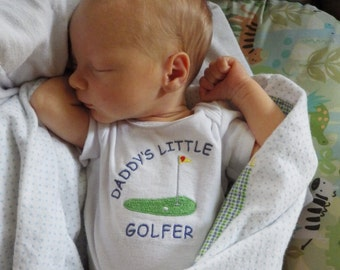 Newborn Boy Coming Home Outfit. Daddy's Little Golfer Embroidered Bodysuit. Baby Golf Outfit