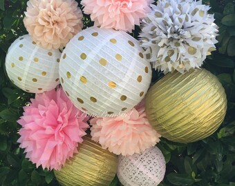 TISSUE POMS & LANTERNS / 5 Tissue Paper Pom Poms/5 Paper Lanterns / wedding decorations, lanterns, tea party, paper pom poms, birthday decor
