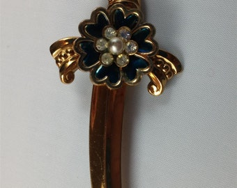 Coro Saber Brooch With Blue Flower