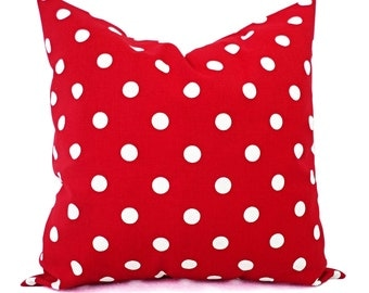 Two Red Pillow Shams - Red Toss Pillow Cover - Polka Dot Pillow - Red Pillow Cover - Red White Pillow - Red Polka Dot Pillow - Accent Pillow