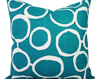 Two Turquoise Decorative Pillow Covers - Two Turquoise and White Throw Pillows - Throw Pillow - Cushion Cover - Accent Pillow - Euro Sham