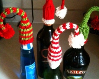 How 'bout a night cap christmas hat for wine/booze/ bottles of all kinds