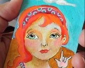 ACEO original Redhead Girl Love sign language mini painting atc OOAK polkadots