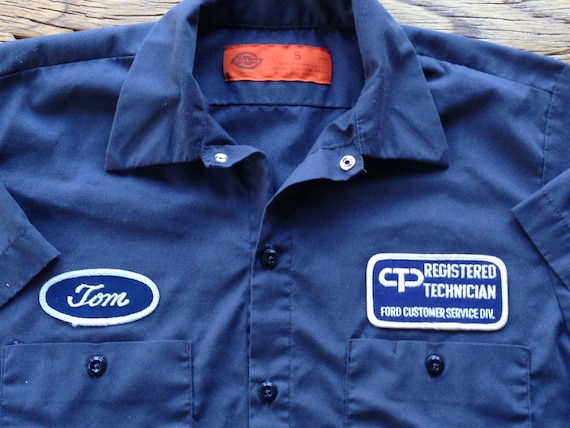 tom 39 s ford auto technician work shirt size small. Black Bedroom Furniture Sets. Home Design Ideas