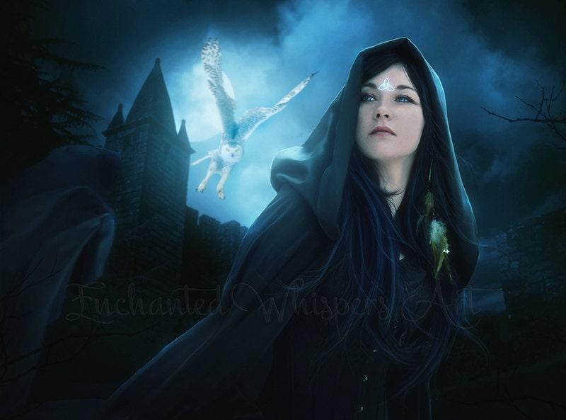 Pagan Woman Art Witch Art Print Fantasy Artwork Snowy Owl