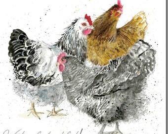 Waiting For Breakfast Chicken Greeting Card - Hen Card, Blank Inside, Barnyard