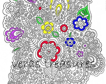 Floral and Paisley Colouring Page for Adults Art Therapy, relaxation