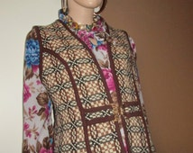 Vintage Welsh Tweed waistcoat with gold clasp fastening.Made in Wales