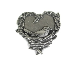 Vintage Birds And Blooms Pewter Heart Pin