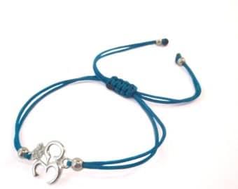 FREE SHIPPING OM bracelet Yoga bracelet Silver bracelet Blue String bracelet Enter FREESHIP16 coupon code at checkout