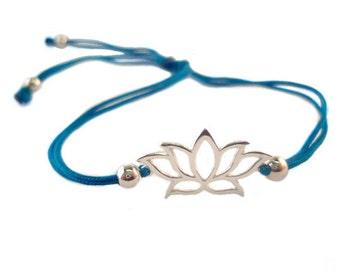 FREE SHIPPING Lotus bracelet Yoga bracelet Blue bracelet String bracelet Enter FREESHIP2017 coupon code at checkout