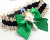 Black and Green WEDDING GARTER Pearl Garter 123 Black-684 Emerald Green Kelly Gold Prom Garter Plus Size & Queen Size Available too